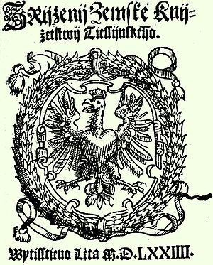 Duchy of Teschen - Title page of the Constitution of the Duchy of Teschen (printed in Czech), issued by Duke Wenceslaus III Adam in 1573