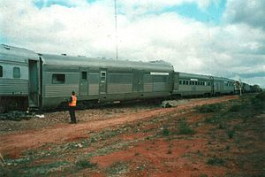 Zanthus train collision - Zanthus accident - showing 'Indian Pacific' passenger train and derailed carriages