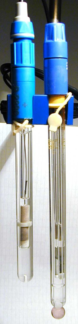 Glass electrode - A silver chloride reference electrode (left) and glass pH electrode (right)