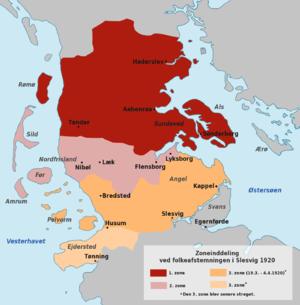 Schleswig plebiscites, 1920 - The three zones in Schleswig/Slesvig