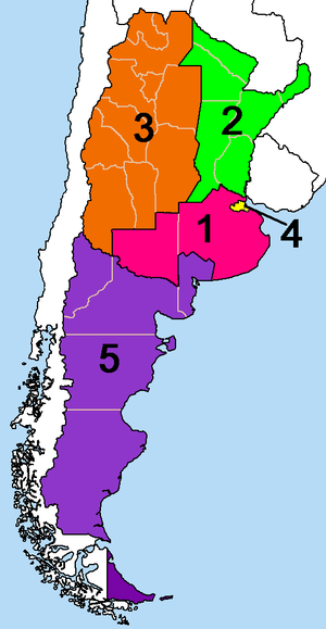 Operativo Independencia - Military zones of Argentina, 1975-1983 (Tucumán Province is in zone 3, the smallest province in the middle).
