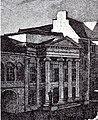 Zum Theater umgebautes Gießhaus in Düsseldorf, Hauptfassade und Portikus mit vier ionischen Säulen, Pläne Regierungsbauräte Vagedes, 1831 bis 1832.jpg