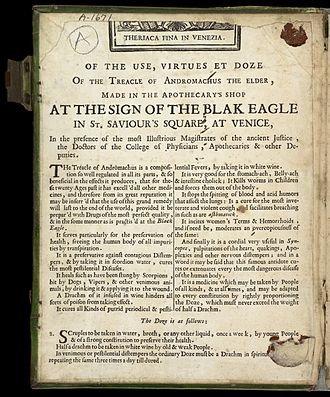 Theriac - Uses and dosing instructions in an advertisement for Venice Treacle, (c. 18th century)
