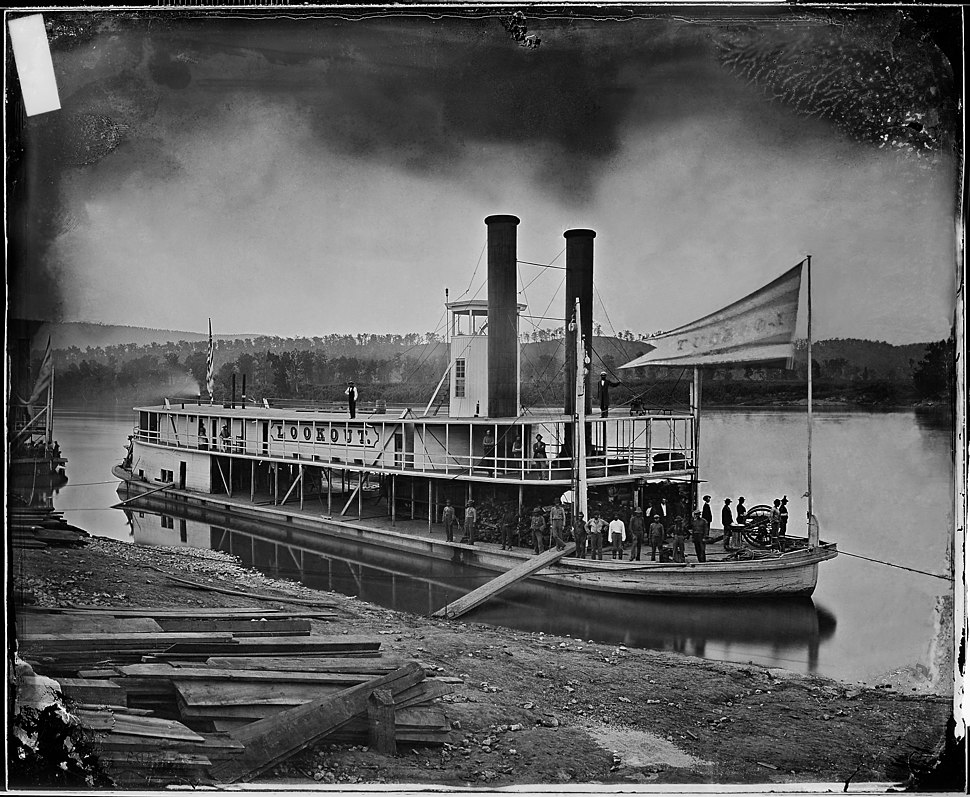 """Look out"" (Transport Steamer) on Tennessee River - NARA - 5289791 restored"