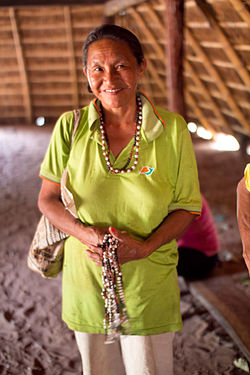 Ña Silvia, spiritual leader of Pai Tavytera Indians in Amambay, inside traditional guarani hut.jpg