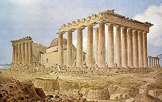 The ruins of the Parthenon with the mosque