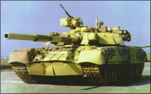 T-84 - An early model T-84 tank. Later versions have reactive armour integrated more smoothly with the hull.