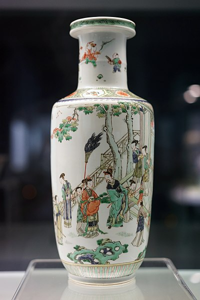 Famille Verte Vase with Design of Liu Bei's Marriage Story, Qing Dynasty. Liu Bei Zhao Qin Tu Ping 00677.jpg