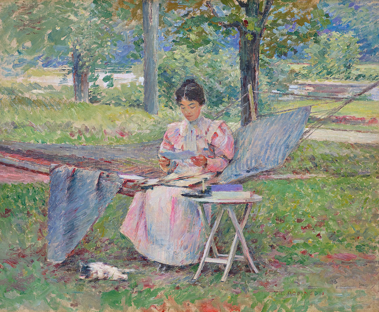 Correspondence by Theodore Robinson, oil on canvas, 18 by 22 inches (45.7 by 55.9 cm), 1895