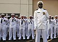 080807-N-0807W-190 The mineman crew of the Avenger-class minesweeper USS Patriot (MCM 7) standby in their dress white uniforms during a pier side change of command ceremony at Fleet Activities Sasebo.jpg