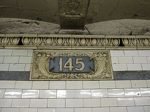 145th Street (IRT Broadway–Seventh Avenue Line) - Original station name cartouche with frieze