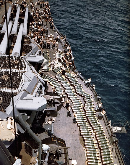 Crewmen loading 14-inch shells aboard New Mexico before the Battle of Guam 14in shells on deck of USS New Mexico (BB-40) in 1944.jpg