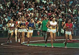 Athletics at the 1972 Summer Olympics – Women's 1500 metres - Nine participants of the 1500 final. Bragina is leading and is not seen in the image. She is followed by Keizer, Carey and Hoffmeister.