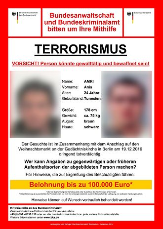 Federal Criminal Police Office (Germany) - Wanted poster of the BKA