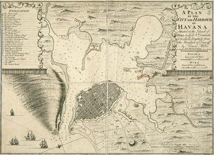Map of Havana, 1739 1739 Plan of the city and harbour of Havanna situated on the island of Cuba by Milton BPL m8627.png