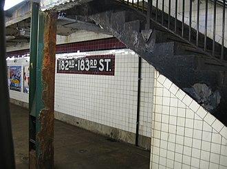 182nd–183rd Streets (IND Concourse Line) - Northbound platform