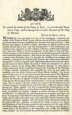 Old Toronto - 1834 Act incorporating the City of Toronto