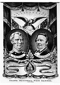 Whig Party banner from 1848 with candidates Zachary Taylor and Millard Fillmore.