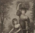 1859 Jane Potts standing and Maria Thomas and Hannah Macklins daughter after Reynolds (cropped).png