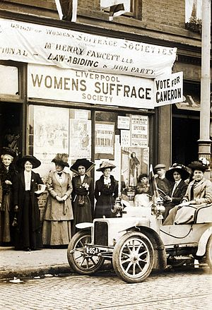 Liverpool Women's Suffrage Society - Liverpool Women's Suffrage Society campaign shop for 1910 Kirkdale by-election
