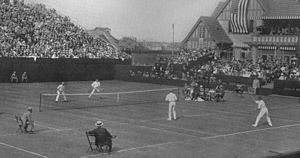 1914 International Lawn Tennis Challenge - 1914 International Lawn Tennis Challenge (Davis Cup) finals match between Australasia and the United States played at the West Side Tennis Club in New York City, New York on 13–15 August. Players shown on the near side are Norman Brookes (left) and Anthony Wilding (right) for Australasia and on the far side Tom Bundy (left) and Maurice McLoughlin (right) for the United States.