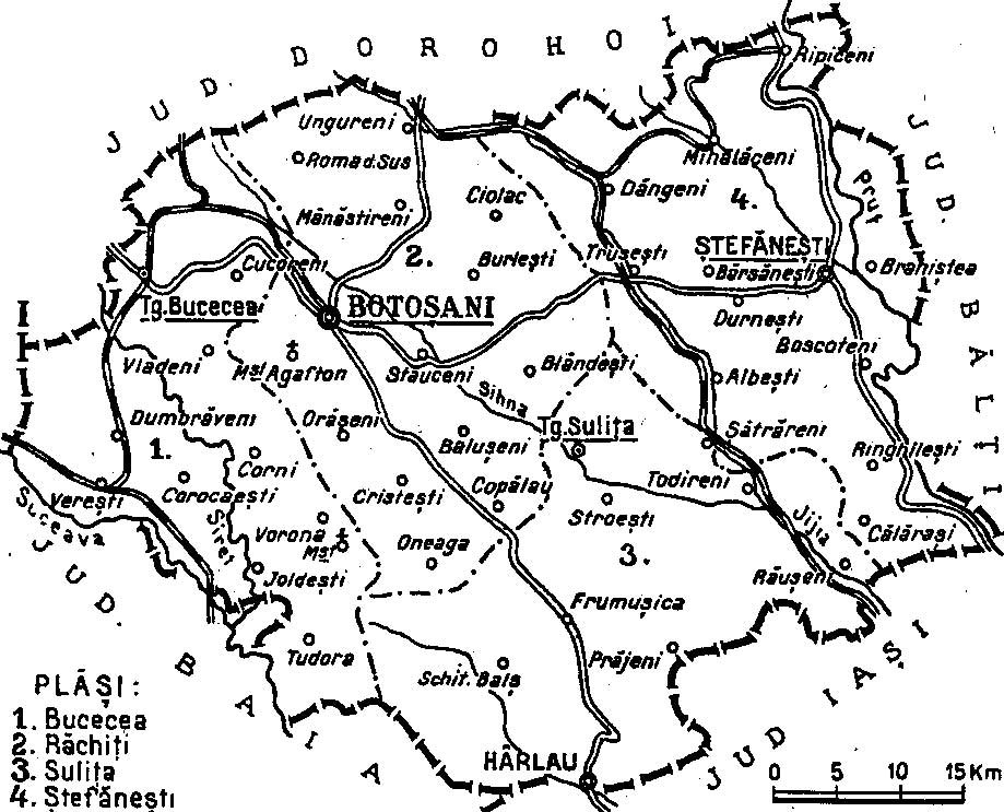 1938 map of interwar county Botosani