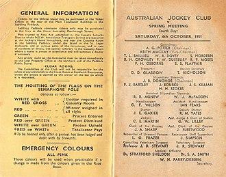 Delta (horse) - Image: 1951 AJC Randwick Plate Racebook P2