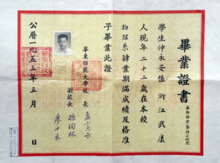 east normal university  diploma of east normal university 1953