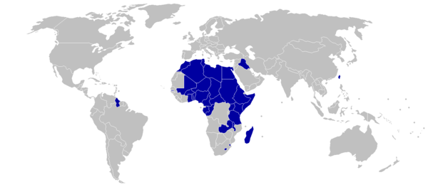 Countries boycotting the 1976 Games are shaded blue 1976 Summer Olympics (Montreal) boycotting countries (blue).png