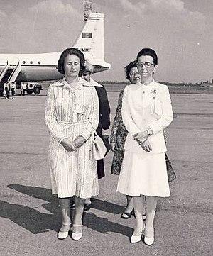 Lyudmila Zhivkova - Elena Ceausescu (left) with Lyudmila Zhivkova (right) in 1977.