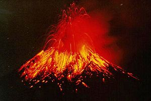 Ring of Fire - Tungurahua spews hot lava and ash at night (1999).