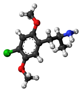 2,5-Dimethoxy-4-chloroamphetamine - Image: 2,5 Dimethoxy 4 chloroamphetamine molecule ball