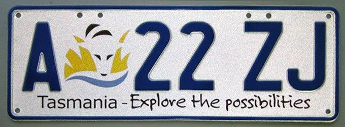 2008 Tasmania registration plate A 22 ZJ