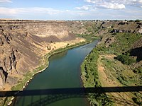 2013-07-07 18 28 46 View east up the Snake River Canyon from the Perinne Bridge (U.S. Route 93) in Twin Falls in Idaho.jpg