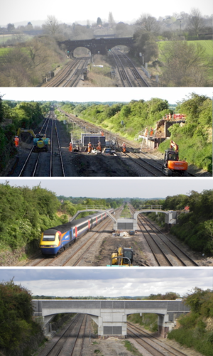 Structure gauge - Increasing the structure gauge for a larger loading gauge can involve substantial work. The UK's Midland Main Line being upgraded in 2014.