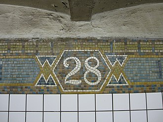 28th Street (IRT Broadway–Seventh Avenue Line) - Trim line tablet