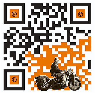 QR code - Example of a QR code with artistic embellishment that will still scan correctly thanks to error correction