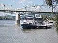 351 ÁLLÓHAJÓ (ship, 1944) and Mária Valéria Bridge, Esztergom, Hungary.jpg