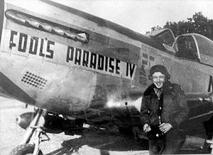 "Maupertus-sur-Mer Airfield - Major Evan Mc Call and P-51D 44-13309 ""Fools Paradise IV"". of the 363d Fighter Group"