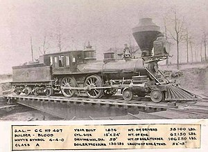 Aretas Blood - 4-4-0 steam locomotive CC No 407 by Aretas Blood from 1874