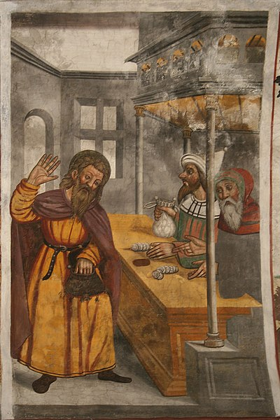 Judas being paid thirty pieces of silver, for the betrayal of Jesus. 16th century fresco painting on the vault in the Saint Sébastien Church, in Planpinet. Clarée valley, Hautes alpes département, France.