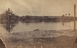 Langat River - A Chinese village on Langat (Jugra) River, 1874.