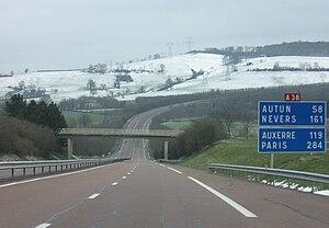 A38 autoroute - The motorway near Sombernon.