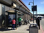 AC Transit bus stop at Coliseum station, February 2012.jpg