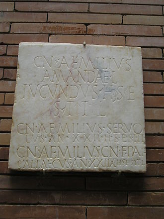 Aemilia (gens) - Gravestone of freedmen (liberti) with the nomen Aemilius, from Emerita Augusta, Roman Spain