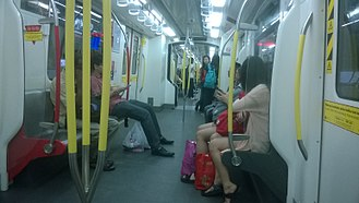 Ampang and Sri Petaling lines - The interior of an AMY train used for both lines