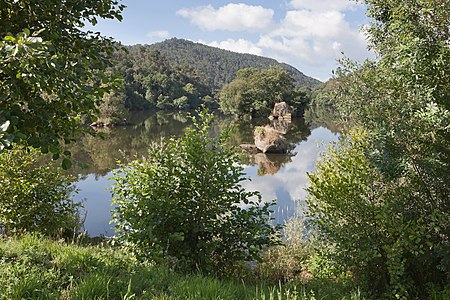 River Arnoia ending at the Miño river, Galicia (Spain)
