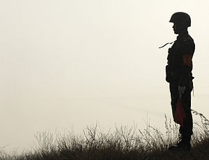 English: A Chinese soldier with the People's L...