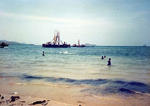 Port Moresby - A Hiri expedition arriving in Port Moresby in the 1990s