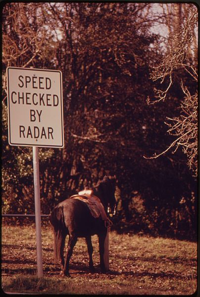File:A SADDLED HORSE STANDS NEXT TO A RADAR SIGN AND WAITS FOR ITS RIDER DURING THE ENERGY CRISIS - NARA - 555453.jpg